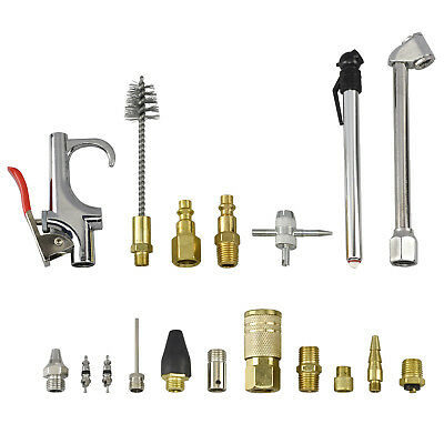 Air Accessory Kit | 18pc Pneumatic Brass Compressor Hose Blow Gun Tool Set ANSI