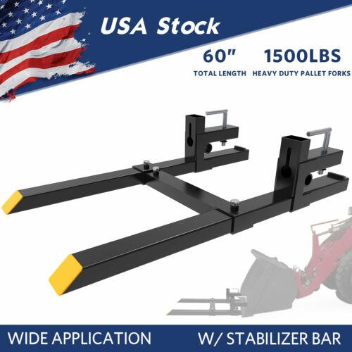 "1500Lbs Tractor Steel Pallet Forks For Skid Steer Bucket 60"" W/ Stabilizer Bar"