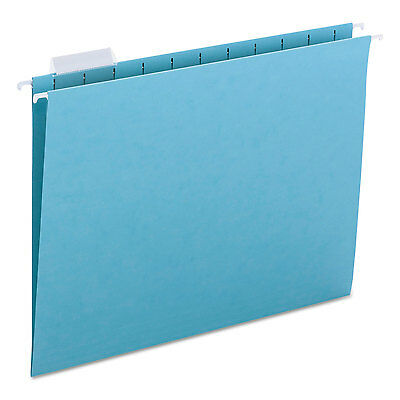 Smead Hanging File Folders 15 Tab 11 Point Stock Letter Aqua 25box 64058