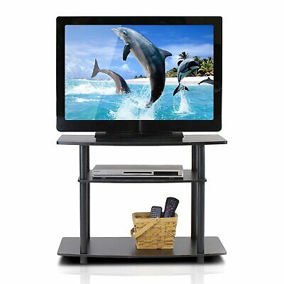 TV Stand Turn N Tube 3 Tier Particle Board Sturdy Rounded Edge Design 50 (Round N Brown Tube)