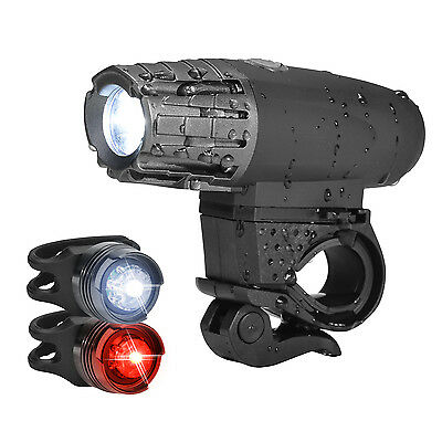 USB Rechargeable LED Bicycle Bright Bike Front Headlight and 2Rear TailLight Set