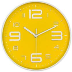 Silent Round Modern White Font Numbers Bright Yellow Circle Hanging Wall Clock