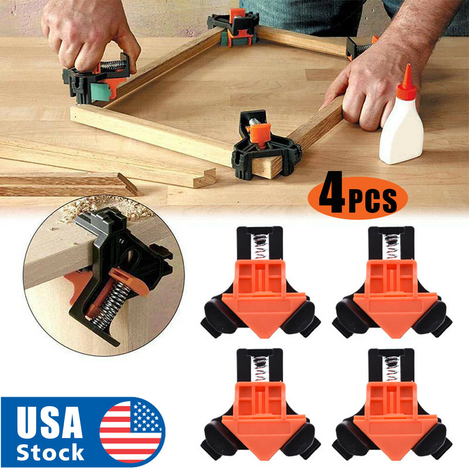 4Pcs/Set 90 Degree Right Angle Clip Clamps Corner Holders Woodworking Hand Tools Clamps & Vises