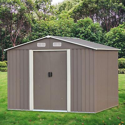 8' x 6'Outdoor Garden Storage Shed Tool House Sliding Door Steel Gray