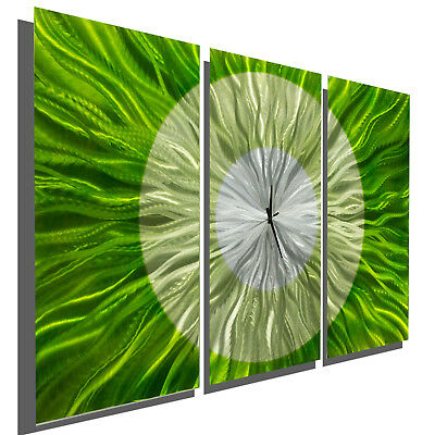 Metal Wall Clock - Lime Green Functional Art Clock - Modern, Contemporary WOW!