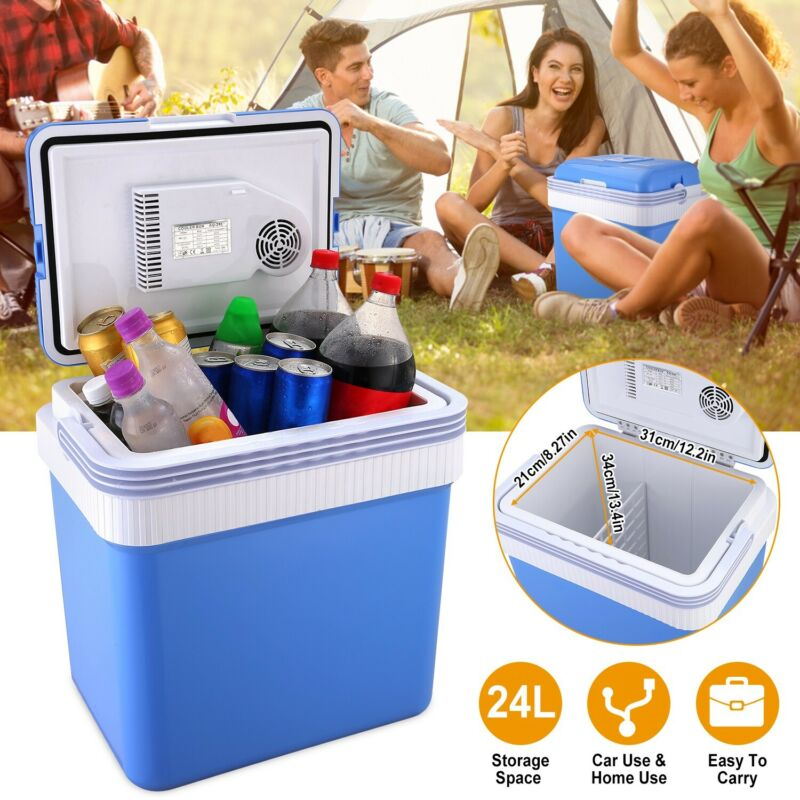 24L Car Refrigerator Camping Fridge Cooler 12V Portable Travel Electric Freezer