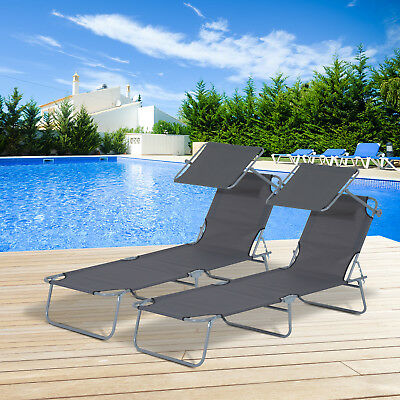 Juego de 2 Tumbona Plegable con Parasol Inclinable Playa Piscina Hamaca Acero