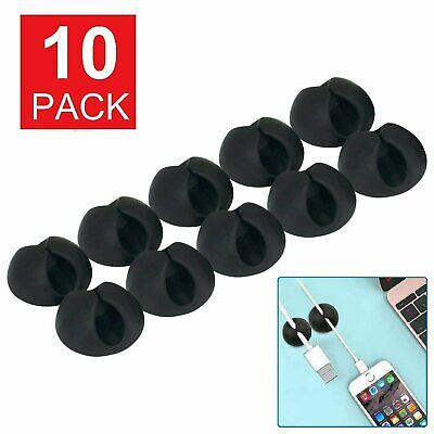10 Cable Clip Grip Desk Wall Organizer Desktop Wire Cord Type USB Charger Holder