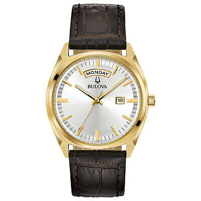 Bulova Men's Quartz Day-Date Calendar Leather Band 39 mm Watch 97C106