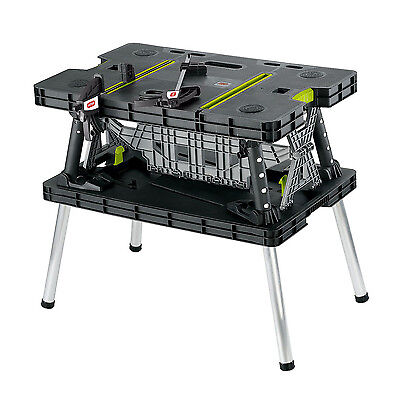 Keter Compact Portable Folding Garage Workbench Work Table With Clamps Green