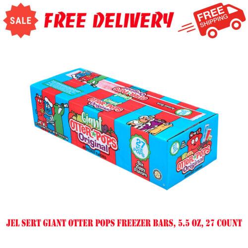 Jel Sert Giant Otter Pops Freezer Bars, 5.5 Oz, 27 Count, Six Zippy Flavors