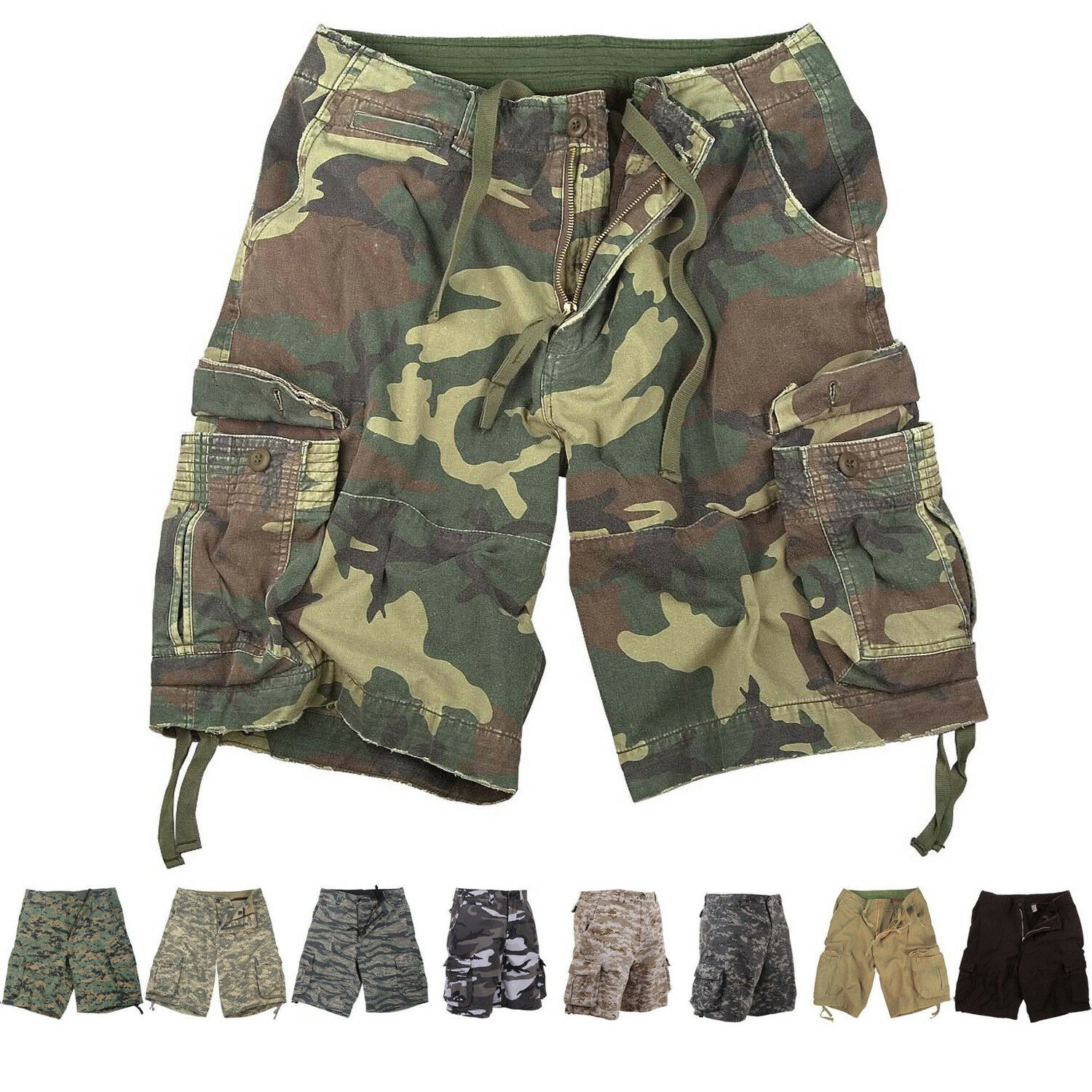 Купить Mens Vintage Camo Cargo Shorts, Army Military Tactical Infantry Utility Rugged