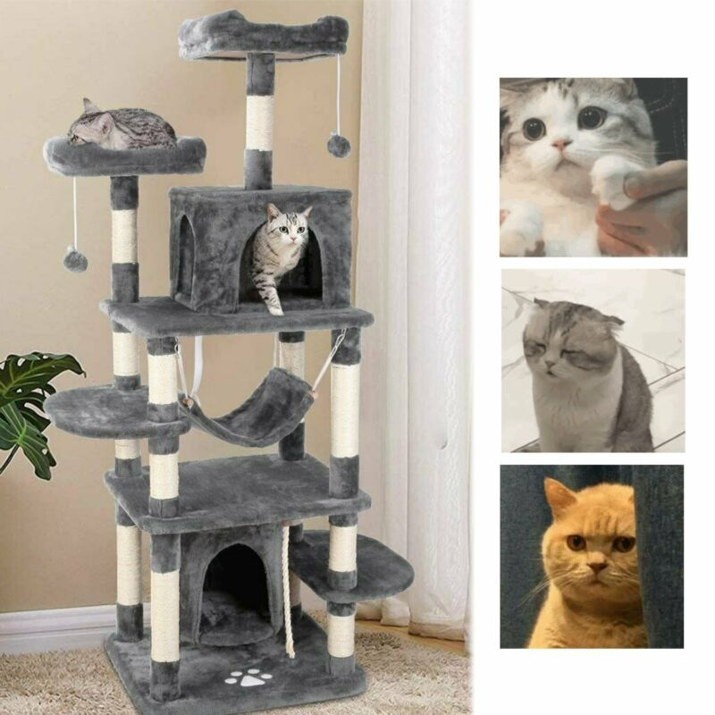 "67"" Cat Tree Condo Tower Play Thicken Board Kitty Activity House for Large Cats"