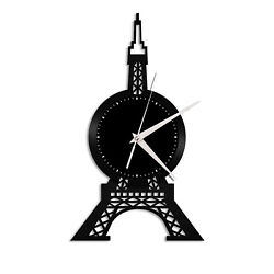 Eiffel Tower Vinyl Wall Clock Gift for Vintage Office Home Bedroom Decoration