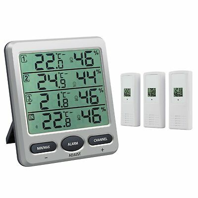Neoteck Thermometer Hygrometer with 3 Remote Sensors LCD Digital Indoor Outdoor