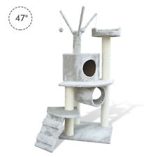 "47"" Cat Tree Scratching Post Tower Kitty House Condo Tunnel Ladder w/ Toy Grey"