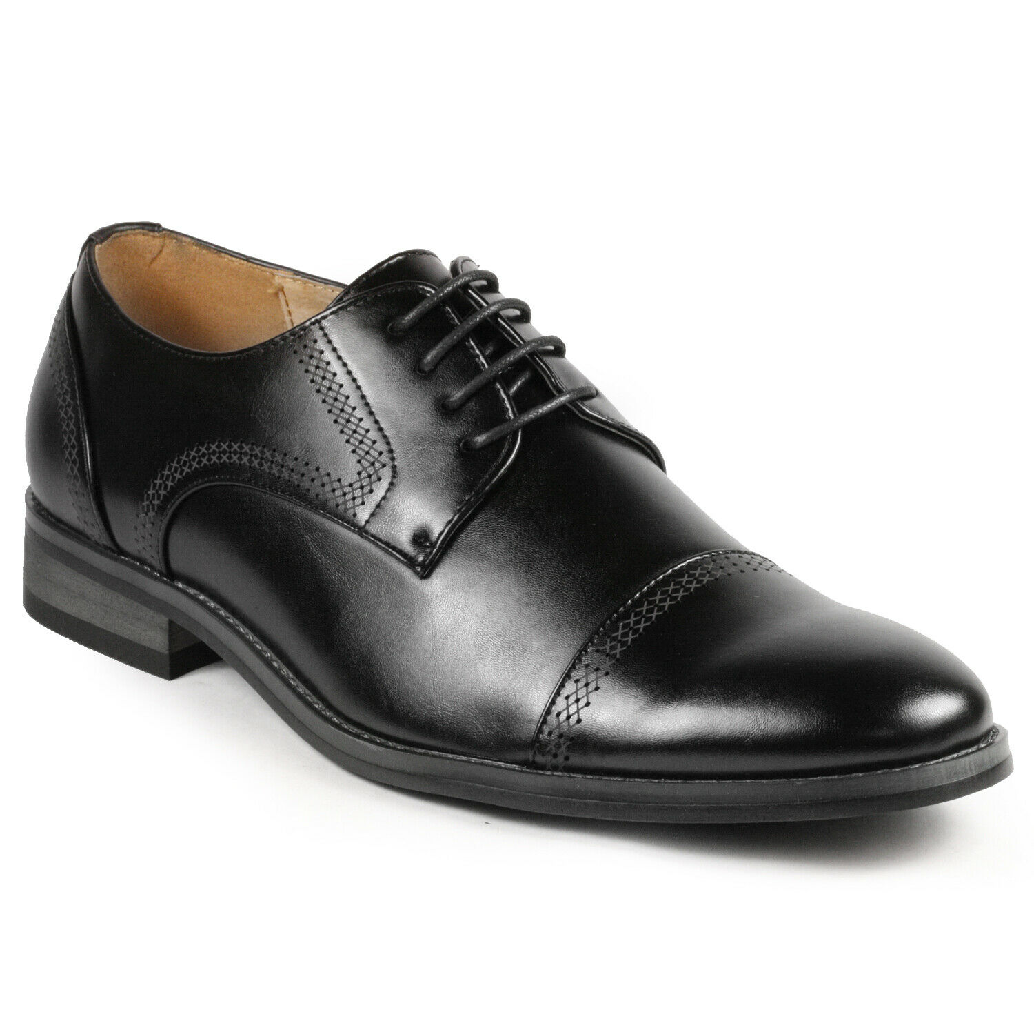 Black Men's Cap Toe Lace Up Oxford Classic Dress Shoe