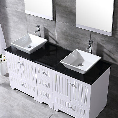 60'' White Bathroom Vanity-Black Top Wood Cabinet Ceramic Sink w/Mirrors Faucets Modern Wood Bathroom Vanity