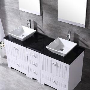 60'' White Bathroom Vanity-Black Top Wood Cabinet Ceramic Sink w/Mirrors Faucets