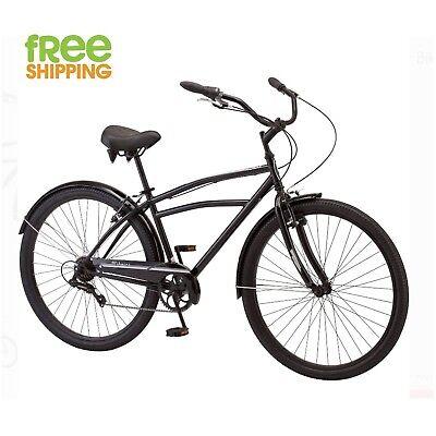 "Schwinn Cruiser Bike 29"" Black Steel Frame 7 speed Men Bicycle Shimano New!"