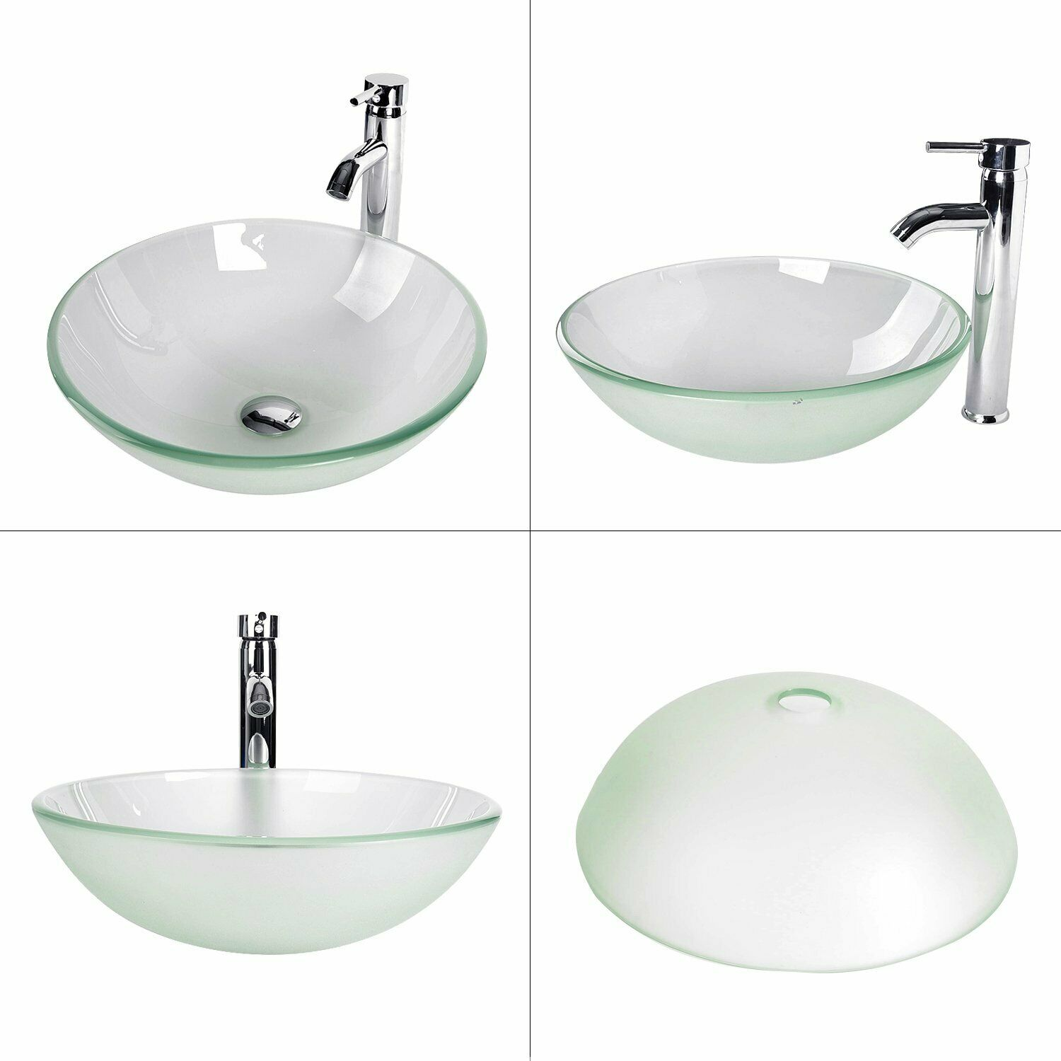 Elecwish Square Artistic Tempered Glass Vessel Sink Combo wi