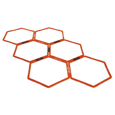 Yes4All Set 6 Hexagonal Rings Agility Orange Hex Speed Ring Ladders with Bag