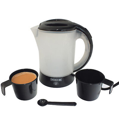 VOCHE® 650W GLOSS BLACK 600ML TRAVEL KETTLE WITH 2 CUPS + SPOON