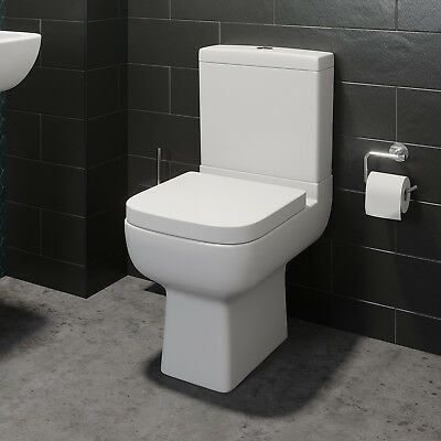 Close Coupled Bathroom Toilet WC Modern White Square Ceramic Soft Close Seat Pan