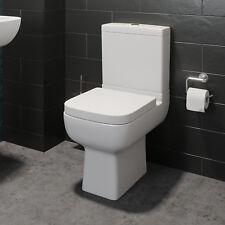 Close Coupled Bathroom Toilet WC Modern White Square Ceramic Soft Close Seat Pan