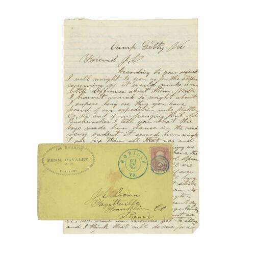 "11th Penn. Cavalry Civil War Letter - ""hanging that old Bushwhacker"" on Raid"