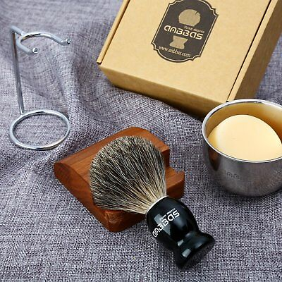 4in1 Anbbas Shaving Sets Shave Brush+Stand+Bowl Cup+Soap Men Fine Badger -
