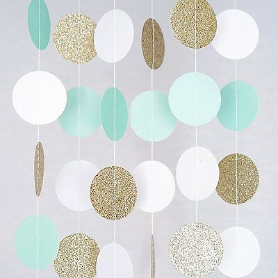 White Mint Gold Glitter Circle Dots Paper Garland 10 Ft Party Home Decor Banner - Gold Garland