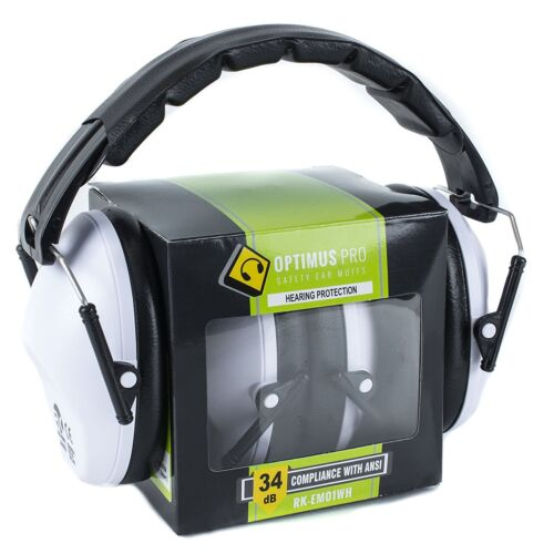 SHOOTING FIRING GUN RANGE NOISE REDUCTION EAR MUFFS HEARING PROTECTION WHITE