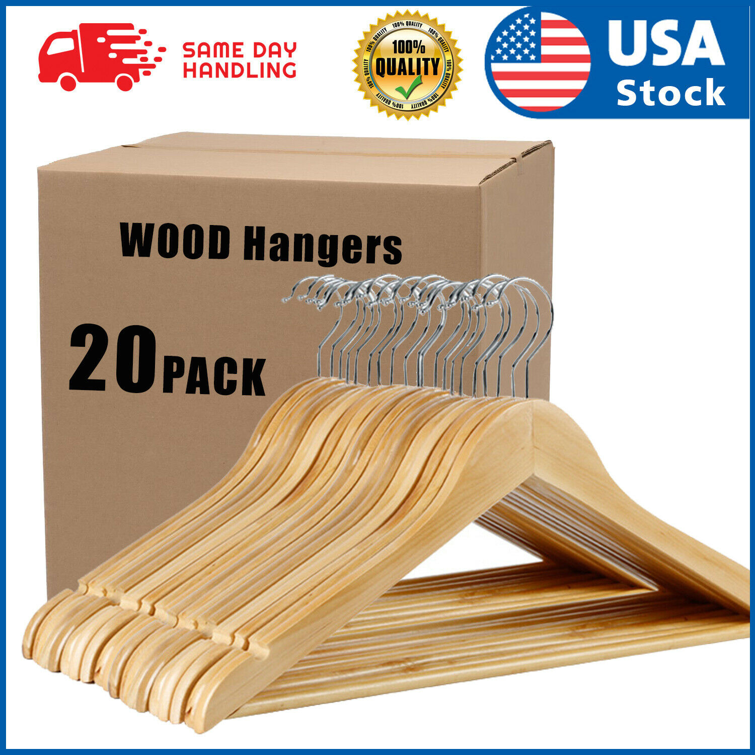 USA 20PACK Wooden Hangers Suit Hangers Premium Natural Finish Utopia Home Clothes Hangers
