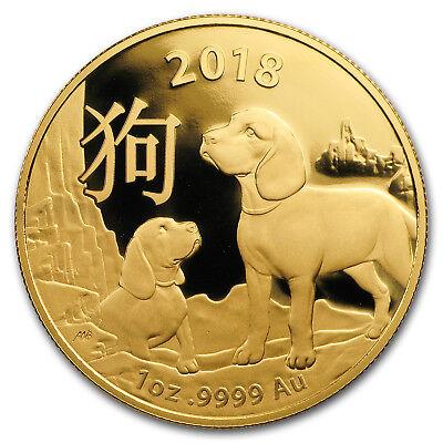 2018 Australia 1 oz Gold Lunar Year of the Dog BU (RAM)