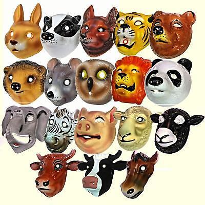 Kids Animal Face Masks Childrens Farm Woodland Jungle Plastic Fancy Dress - Jungle Animal Face Masks