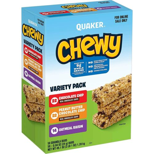 Quaker Chewy Granola Bars, 25% Less Sugar, 3 Flavor Variety Pack, 58 Pack