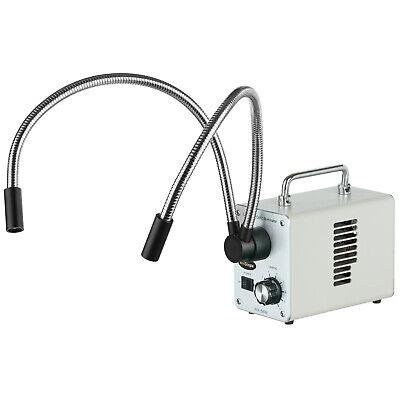 Amscope 50w Led Fiber Optic Dual Gooseneck Lights Microscope Illuminator