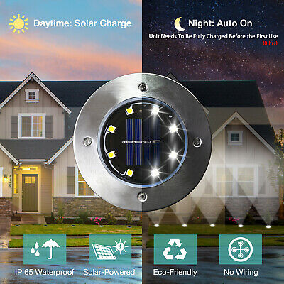 8 Pack White Solar Power 8LED Lights Road Driveway Pathway Dock Path Ground  Solar Driveway Lights