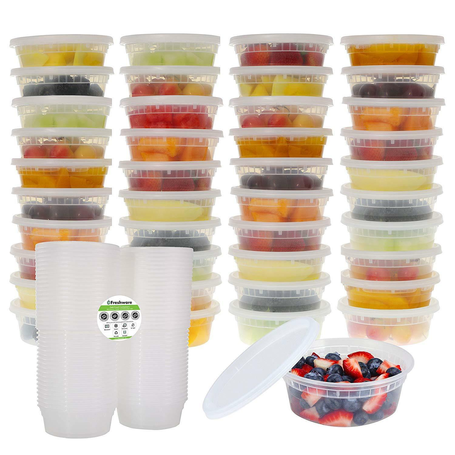 Freshware 40-Pack 8 oz Plastic Food Storage Containers with