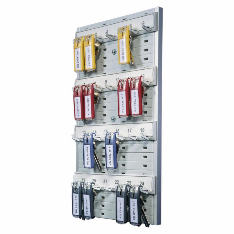 "Durable Key Rack 24-Tag Capacity 8 3/8"" x 1 3/8"" x 14 1/8"" Gray Plastic 195610"