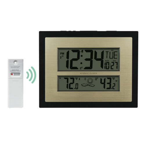 W85746-BHG La Crosse Technology Atomic Digital Wall Clock with IN/OUT Temp TX141