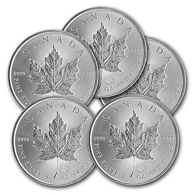 2014 1 oz Silver Canadian Maple Leaf Coin - Lot of 5 - SKU #79748