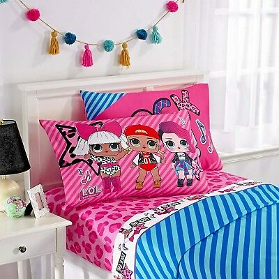 L.O.L Surprise Kids Bedding Soft Microfiber Sheet Set Pink Blue Full Size -