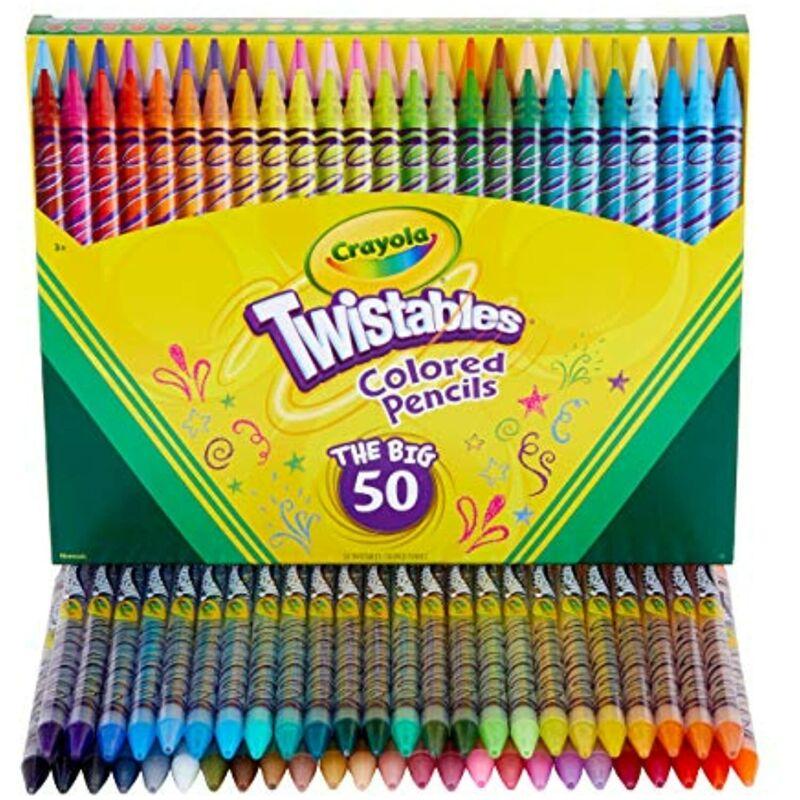 Crayola Twistables Colored Pencil Set, Kids Indoor Activities at Home, 50 Count