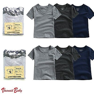 "Vaenait Baby 3Pack Toddler Kids V neck Round Neck Top T-Shirt ""Basic Boys"" 2-7T"