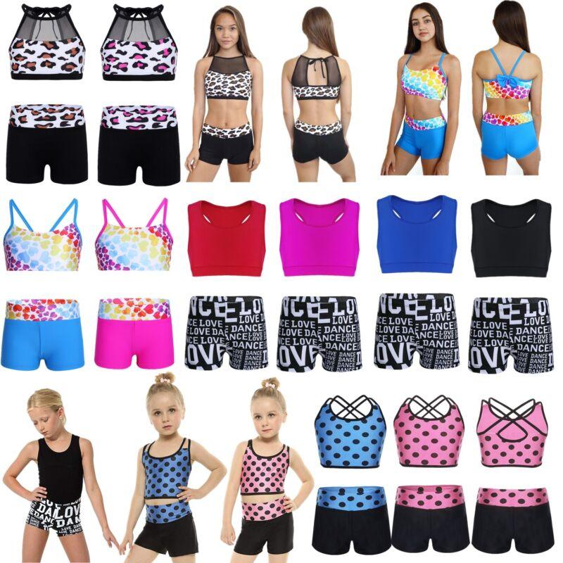 Girls Crop Top Dance Costume Fitness Gymnastics Sports Shorts Bottoms Dancewear