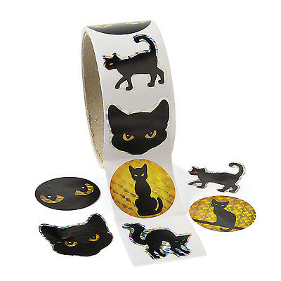 100 Halloween Black Cat Prism Stickers Haunted House FUN PARTY Favor Decoration](100 Halloween)