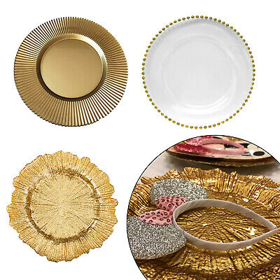 Elegant Design Glass Charger Plate Clear/Gold Beaded Decorative Dinner Placemats - Design Charger Plate