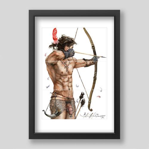 "Kirill Fadeyev authored PRINT ""ARCHER"" 13x19 inch nude gay gayart art  men"